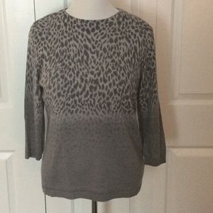 Talbots Grey Animal Print/Ombre Sweater